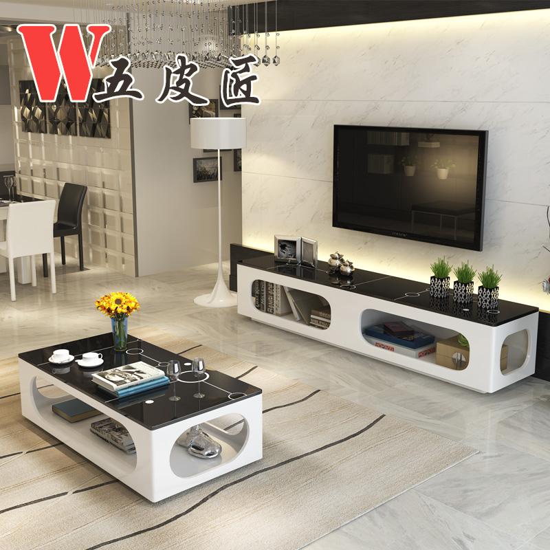 现代简约整装储物烤漆钢化玻璃茶几电视柜组合创意小户型客厅家具