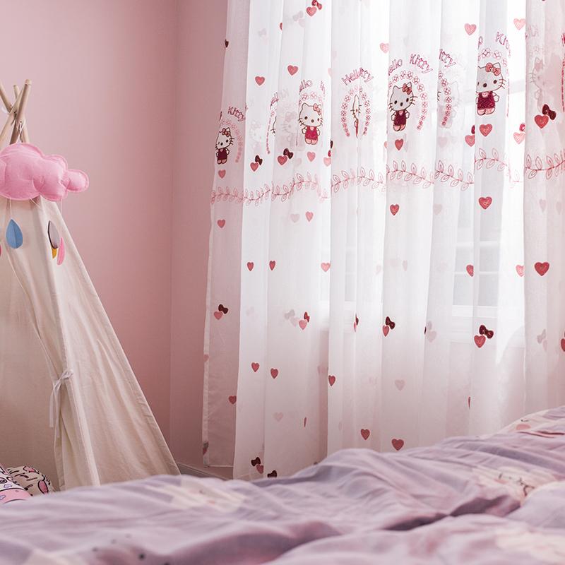 定制韩式粉色公主房温馨儿童卧室落地飘窗卡通猫成品绣花窗帘纱帘
